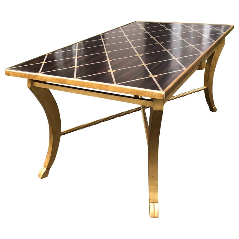Sophisticated Inlaid Wood Coffee Table by Amy Howard For Sale