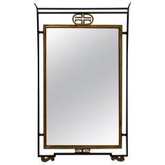 Sophisticated Italian Iron and Gilded Asian Style Mirror