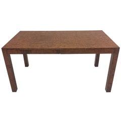 Sophisticated Mid-Century Modern Milo Baughman Style Burled Olive Wood Desk