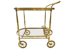 Sophisticated Midcentury French Drinks Trolley-Brass