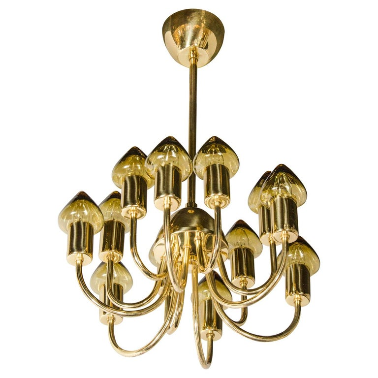 Sophisticated Midcentury Modernist Twelve-Arm Chandelier by Hans Agne Jakobsson For Sale