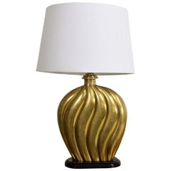 Sophisticated Modern Hollywood Regency Swirled Bronze on Black Table Lamp, 1940s