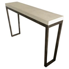 Sophisticated Narrow Iron & Faux Leather Wrapped Console Table