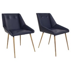 Sophisticated Navy Leather Chairs Flared Brass Legs Gio Ponti 1950s, Set of 2