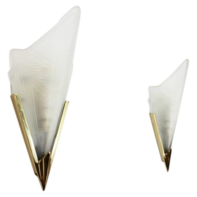 Sophisticated Pair of Art Deco Brass & Glass Wall Lamps, France