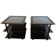 Sophisticated Pair of Barbara Barry 3-Tier Side Tables with Java Finish