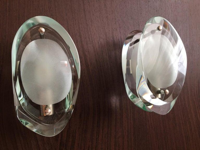 Mid-20th Century Max Ingrand  Pair of Sconces for Fontana Arte For Sale