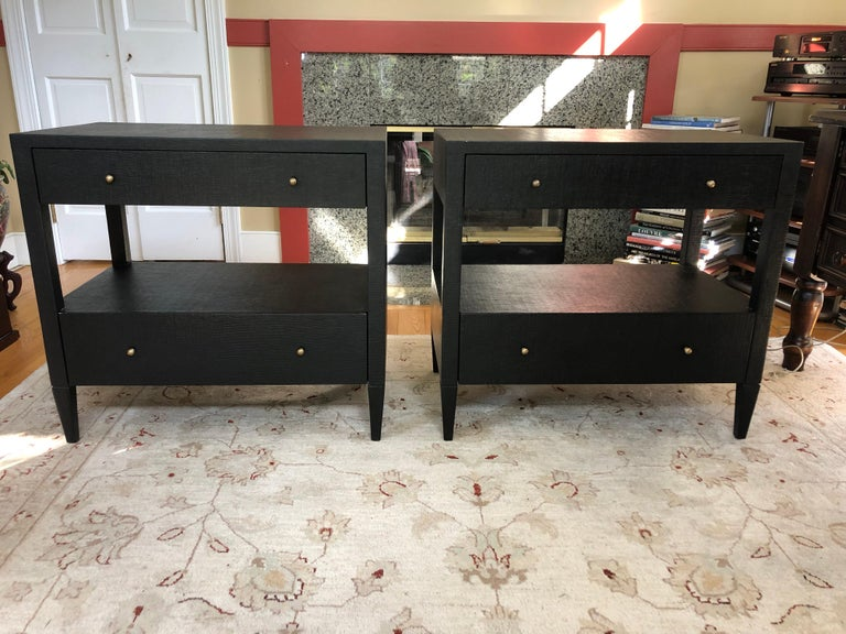 Sophisticated Pair of Two-Drawer Raffia Wrapped Black Nightstands End Tables For Sale 5
