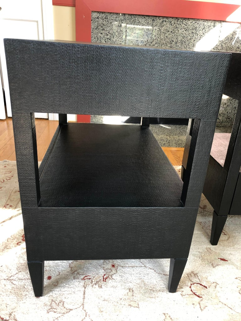 Sophisticated Pair of Two-Drawer Raffia Wrapped Black Nightstands End Tables In Excellent Condition For Sale In Hopewell, NJ