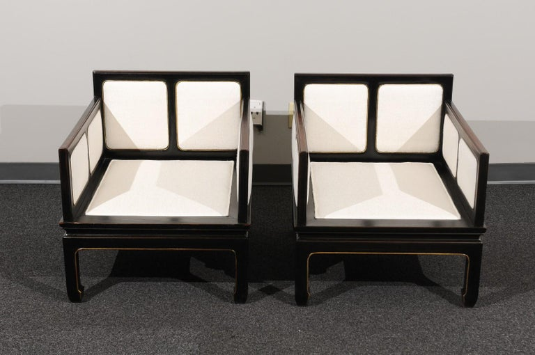 Sophisticated Restored Pair of Lounge Chairs by Baker Furniture, circa 1960 For Sale 9
