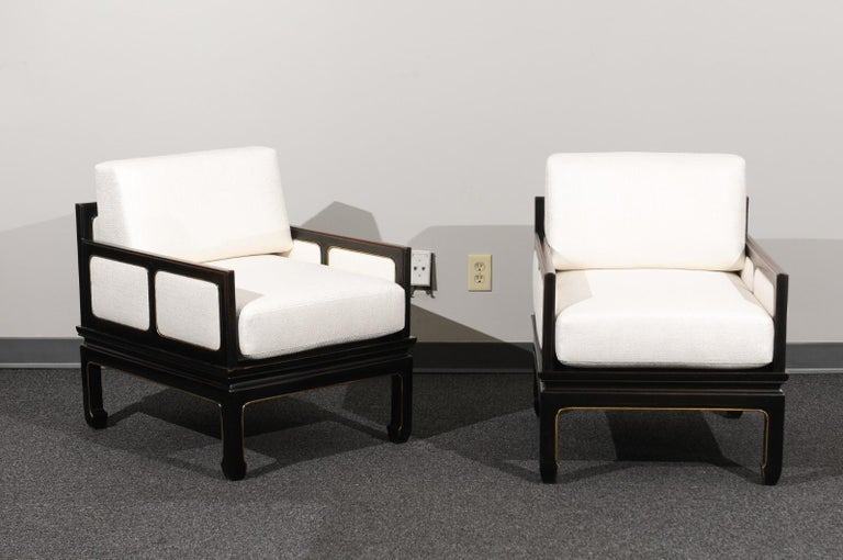 Mid-Century Modern Sophisticated Restored Pair of Lounge Chairs by Baker Furniture, circa 1960 For Sale