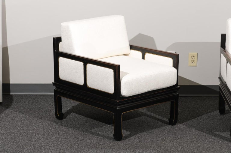 American Sophisticated Restored Pair of Lounge Chairs by Baker Furniture, circa 1960 For Sale