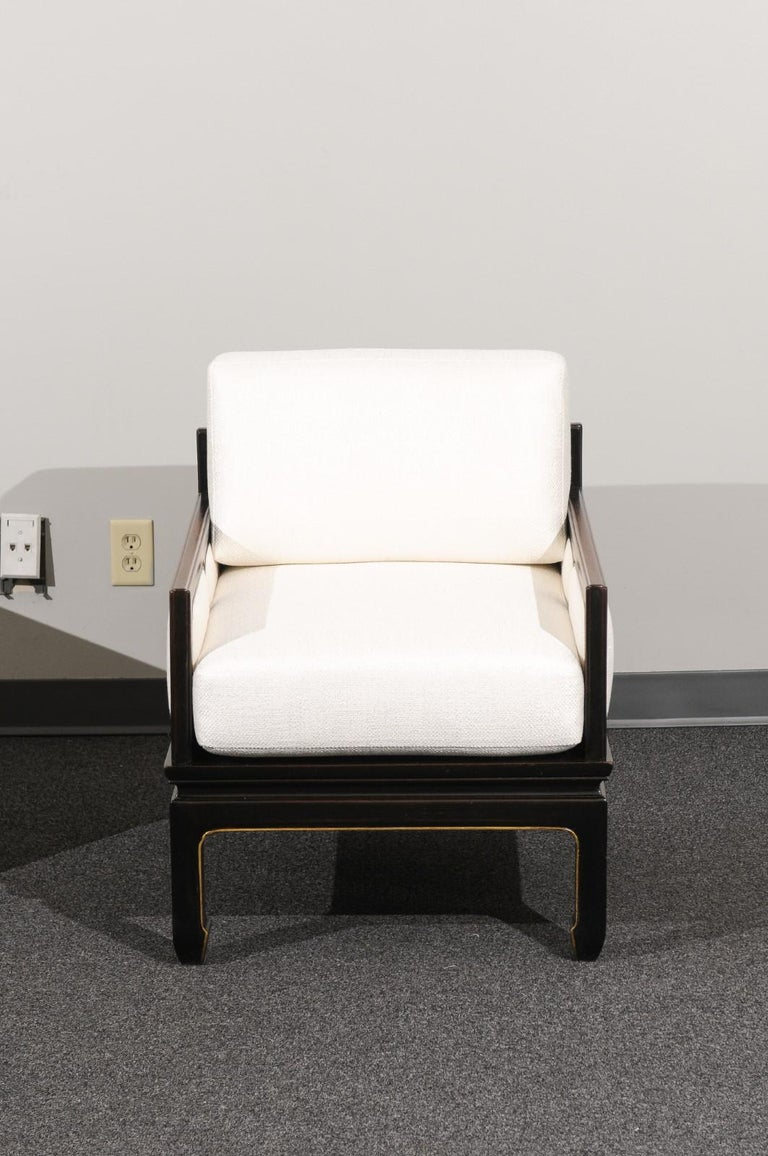Sophisticated Restored Pair of Lounge Chairs by Baker Furniture, circa 1960 In Excellent Condition For Sale In Atlanta, GA