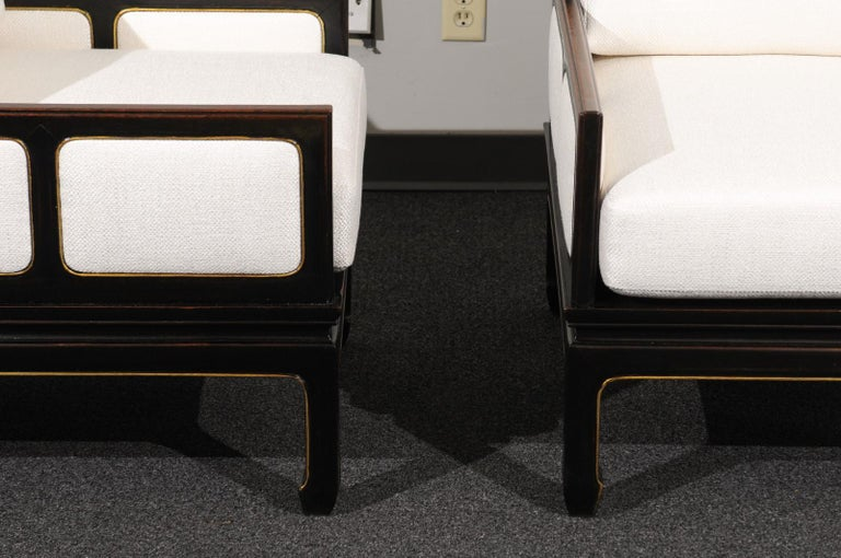 Mid-20th Century Sophisticated Restored Pair of Lounge Chairs by Baker Furniture, circa 1960 For Sale