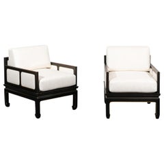 Sophisticated Restored Pair of Lounge Chairs by Baker Furniture, circa 1960