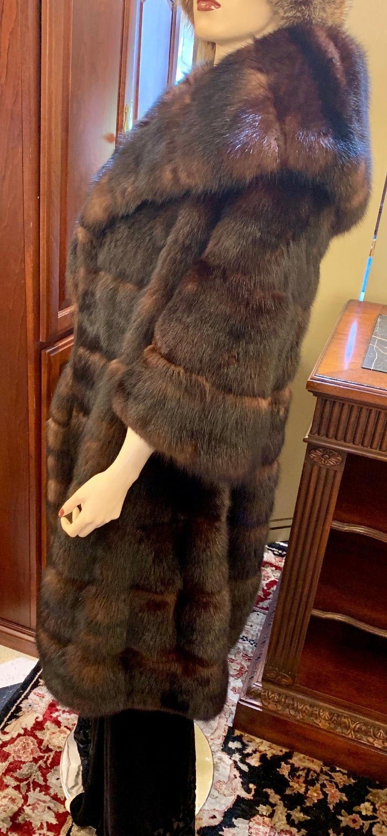 Sophisticated Russian Sable Mid Length Fur Coat with 3/4 Length Sleeves For Sale 7
