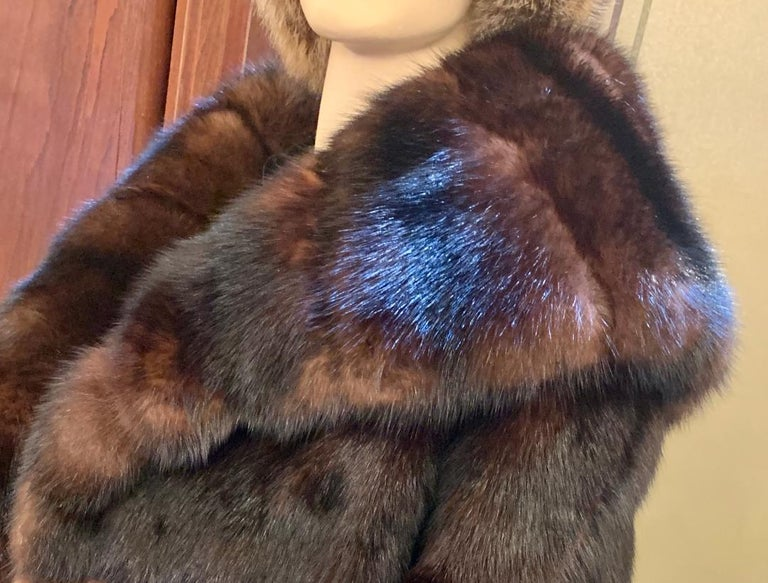 Sophisticated Russian Sable Mid Length Fur Coat with 3/4 Length Sleeves For Sale 9