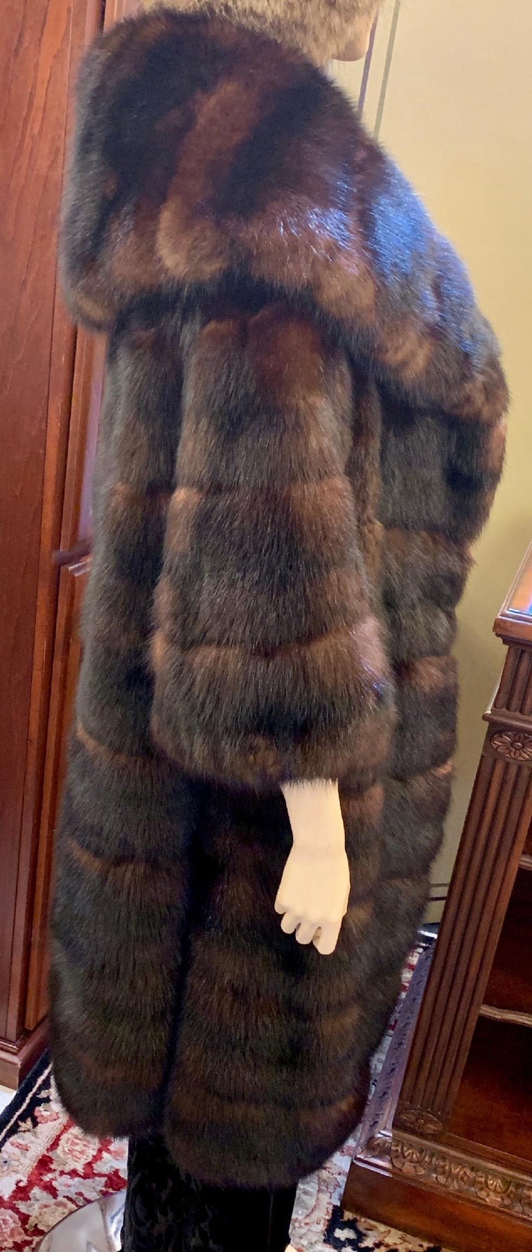 Sophisticated Russian Sable Mid Length Fur Coat with 3/4 Length Sleeves For Sale 12