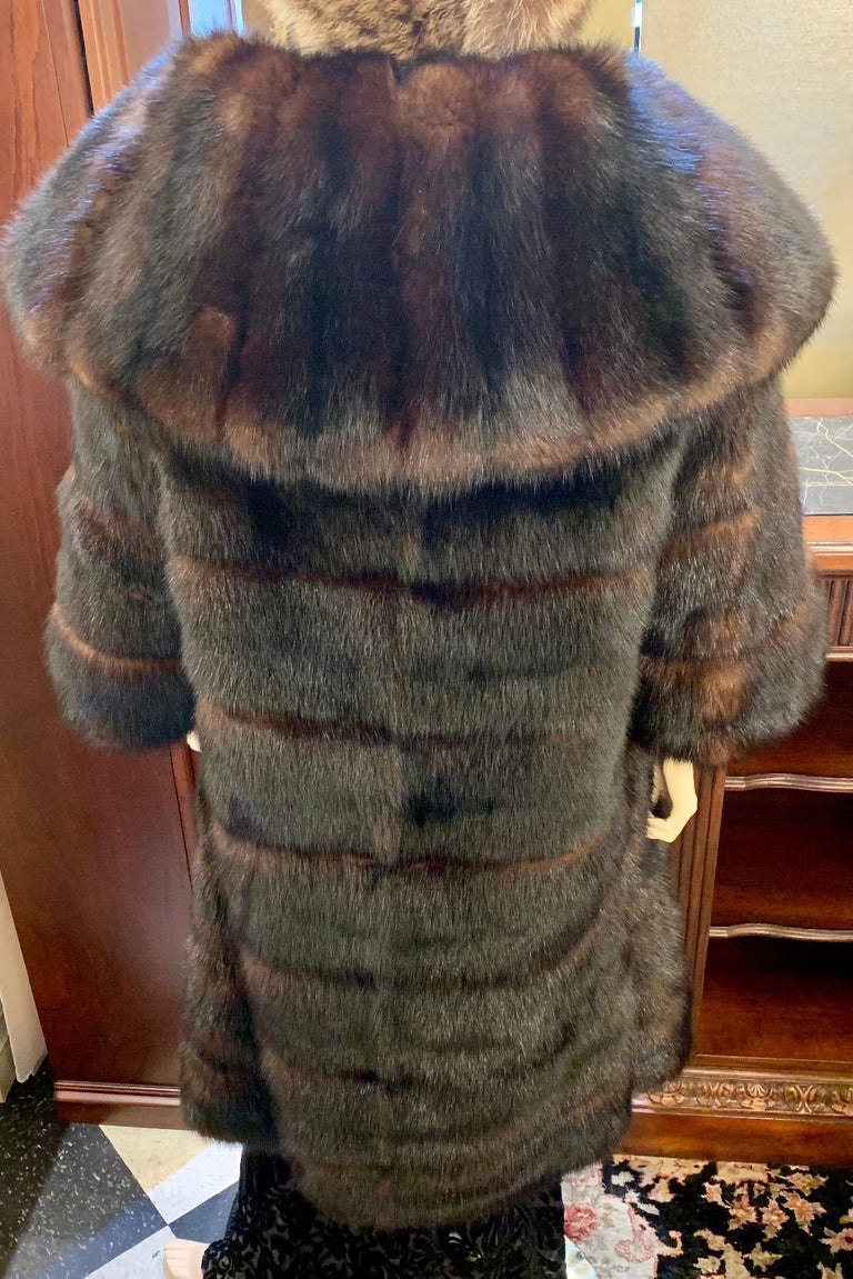 Sophisticated Russian Sable Mid Length Fur Coat with 3/4 Length Sleeves For Sale 14