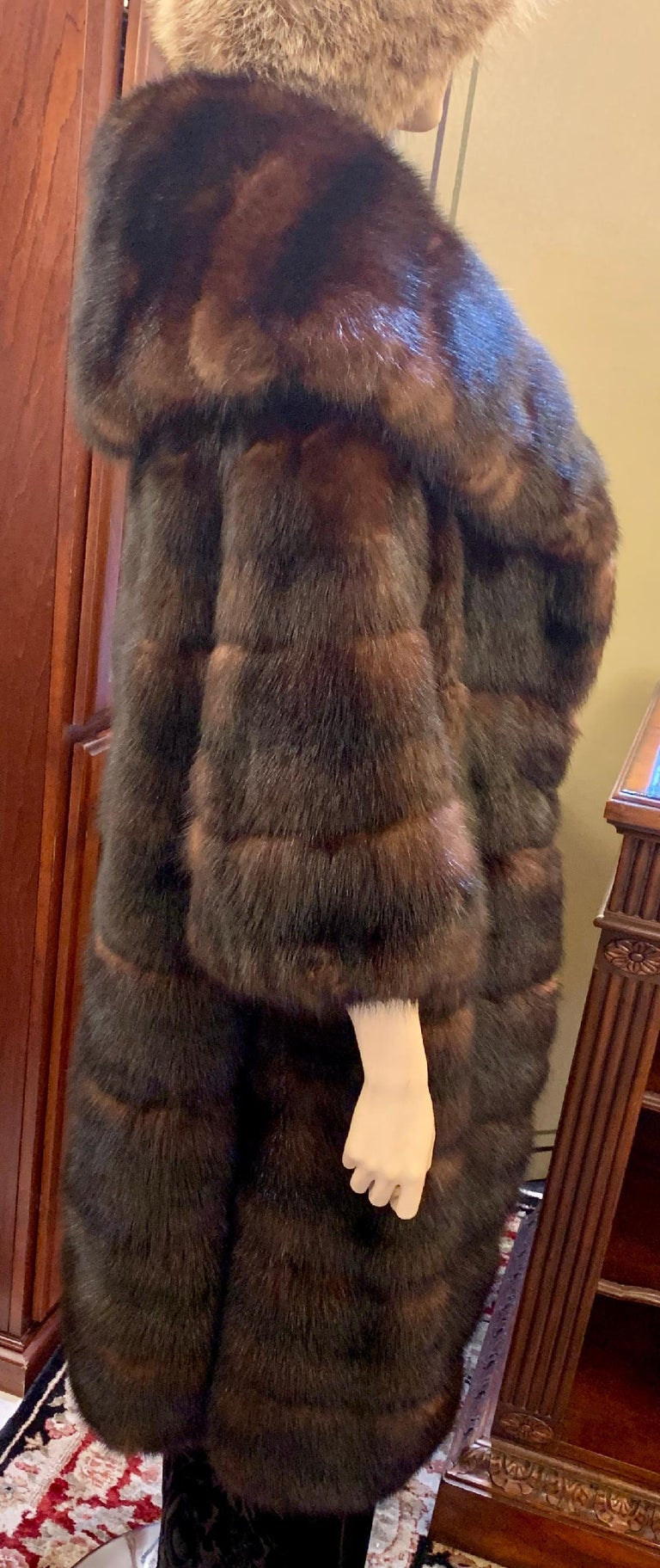 Sophisticated Russian Sable Mid Length Fur Coat with 3/4 Length Sleeves For Sale 1