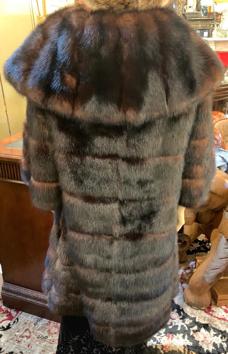 Sophisticated Russian Sable Mid Length Fur Coat with 3/4 Length Sleeves For Sale 2