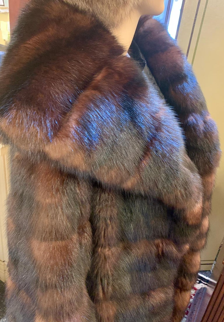 Sophisticated Russian Sable Mid Length Fur Coat with 3/4 Length Sleeves For Sale 3