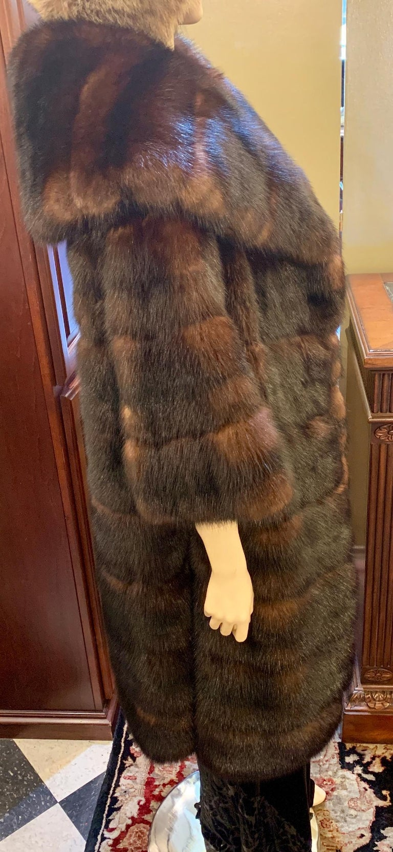 Sophisticated Russian Sable Mid Length Fur Coat with 3/4 Length Sleeves For Sale 4