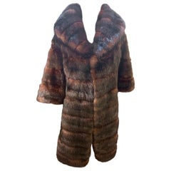 Sophisticated Russian Sable Mid Length Fur Coat with 3/4 Length Sleeves