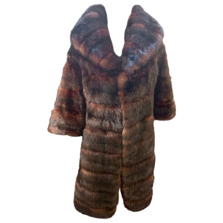 Sophisticated Russian Sable Mid Length Fur Coat with 3/4 Length Sleeves For Sale