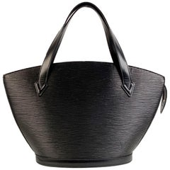 Sophisticated 'Saint Jacques PM' Tote Bag by LOUIS VUITTON, crafted in black EPI