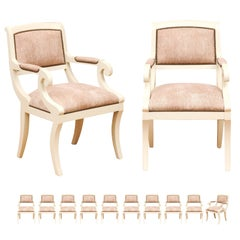 Sophisticated Set of 12 Modern Regency Style Klismos Chairs, Italy, circa 1970