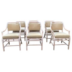 Sophisticated Set of 6 McGuire Cerused Bamboo & Rattan Dining Chairs