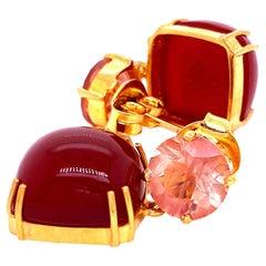 Sophisticated, Stylish Earrings of Carnelian and Sunstone