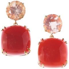 Gemjunky Sophisticated, Stylish Gemjunky Earrings of Carnelian and Sunstone