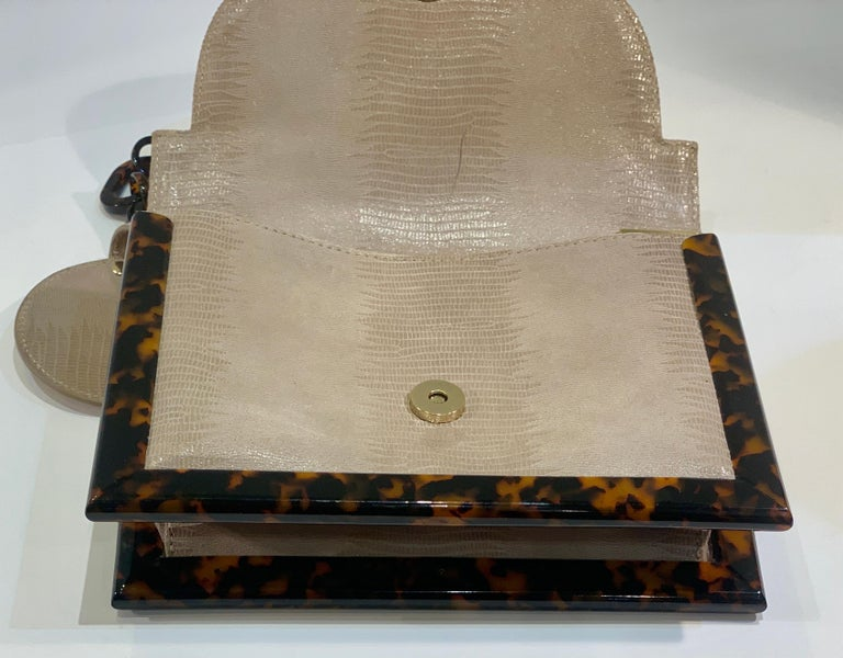 Sophisticated Tory Burch Pearlized Lizard Purse with Faux Tortoise Shell Trim For Sale 6