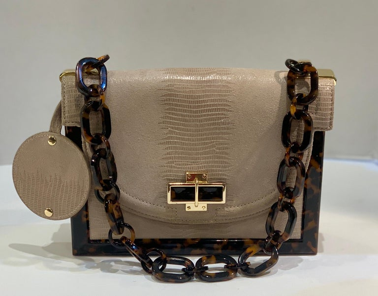 Brown Sophisticated Tory Burch Pearlized Lizard Purse with Faux Tortoise Shell Trim For Sale