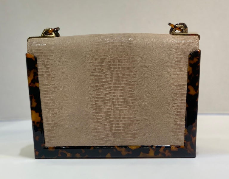 Sophisticated Tory Burch Pearlized Lizard Purse with Faux Tortoise Shell Trim For Sale 2