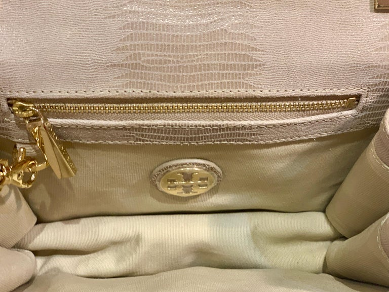 Sophisticated Tory Burch Pearlized Lizard Purse with Faux Tortoise Shell Trim For Sale 3