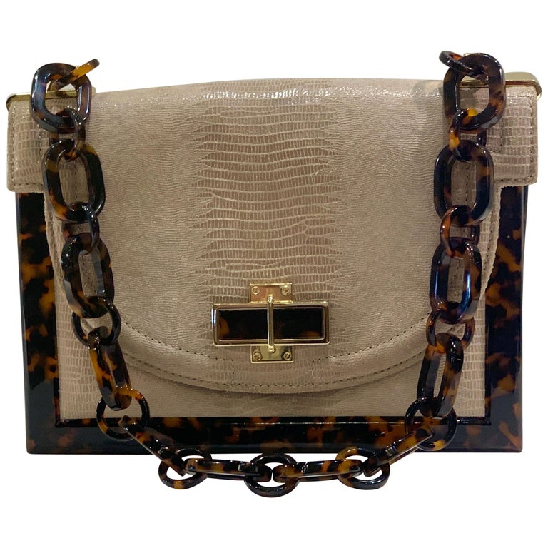 Sophisticated Tory Burch Pearlized Lizard Purse with Faux Tortoise Shell Trim For Sale