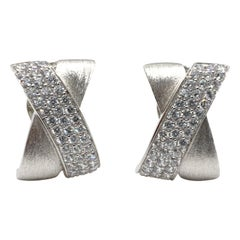 Sophisticated X-shape Pave and Sterling Silver Clip-on Earrings