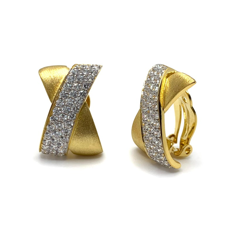 Contemporary Sophisticated X-shape Pave and Vermeil Clip-on Earrings For Sale