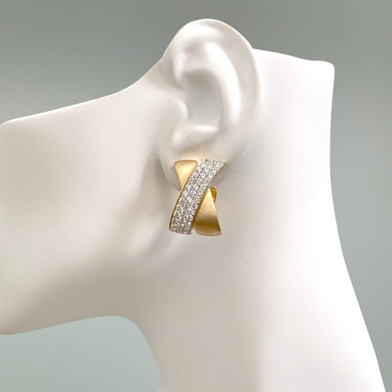 Women's Sophisticated X-shape Pave and Vermeil Clip-on Earrings For Sale