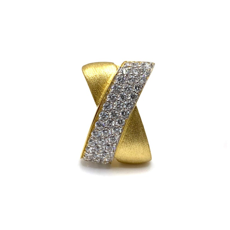 Sophisticated X-shape Pave and Vermeil Clip-on Earrings For Sale 1