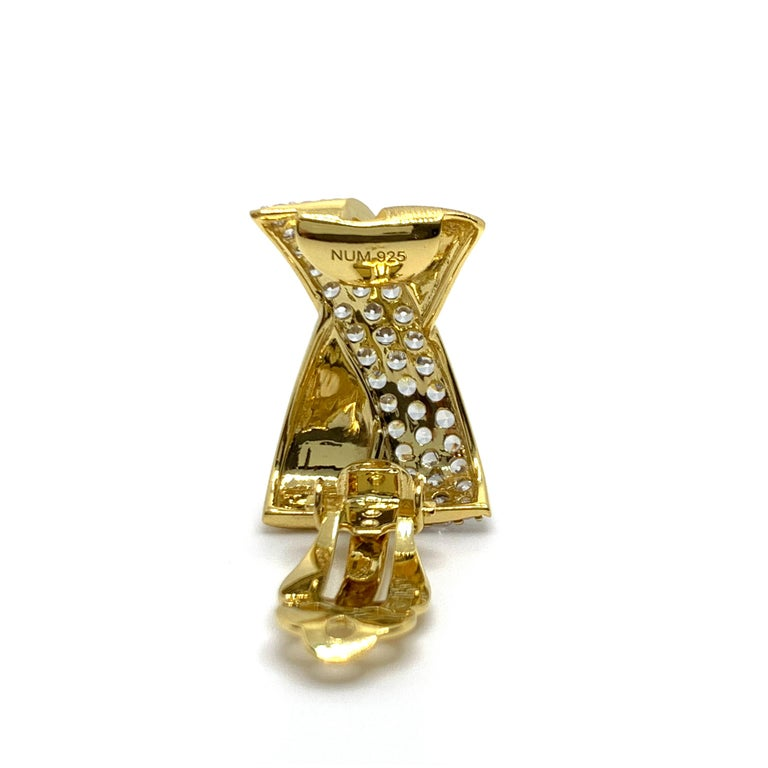 Sophisticated X-shape Pave and Vermeil Clip-on Earrings For Sale 3