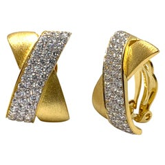 Sophisticated X-shape Pave and Vermeil Clip-on Earrings