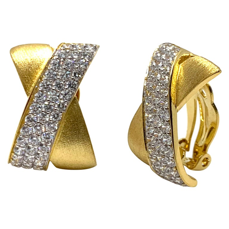 Sophisticated X-shape Pave and Vermeil Clip-on Earrings For Sale