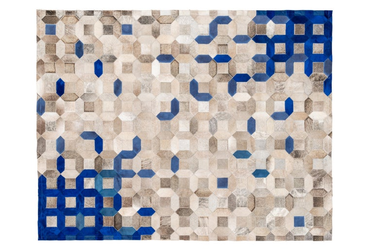 Pakistani Sophisticated, Yet Classic Trellis Blue Cowhide Area Floor Rug For Sale