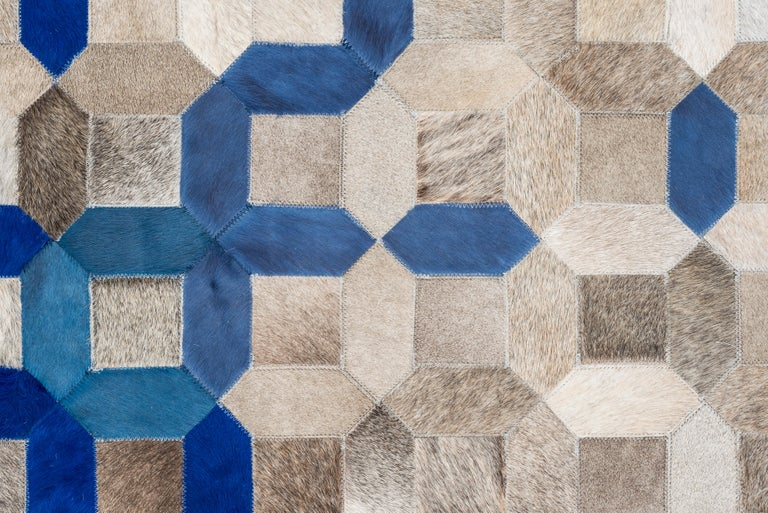 Machine-Made Sophisticated, Yet Classic Trellis Blue Cowhide Area Floor Rug For Sale
