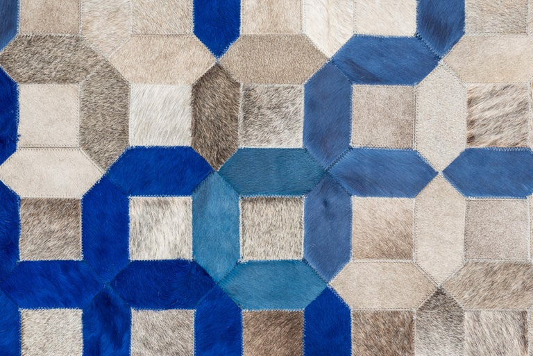Sophisticated, Yet Classic Trellis Blue Cowhide Area Floor Rug In New Condition For Sale In Charlotte, NC