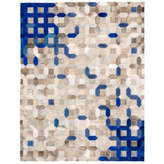 Sophisticated, Yet Classic Trellis Blue Cowhide Area Floor Rug Small